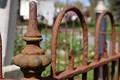 The rust around a gravestone