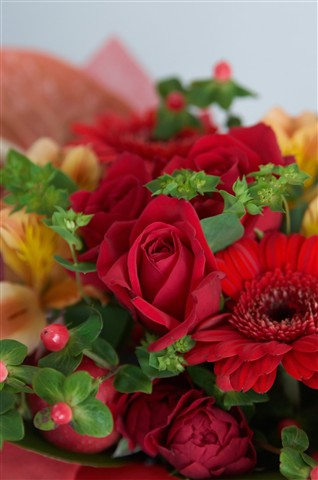 Deep Red Rose Basket