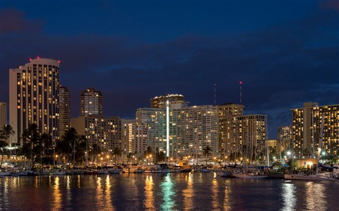 Waikiki Marina at Night