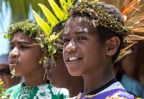 School Boys Singing, Island of Mare, New Caledonia