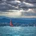 Successful defender of the 36th America's Cup. Te Rehutai of Emirates Team New Zealand on her way to beating Luna Rosa In race 1 of the match.