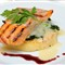 salmon, risotto, greens and cheese from Serra da Estrela