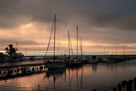 sailsboats at dawn
