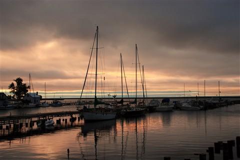 sailsboats at dawn