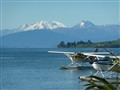 Lake Taupo NZ with Mt Ruapehu & Mt Tongarrio behind