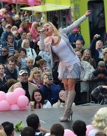 Singer at the Riga Blonde Parade.