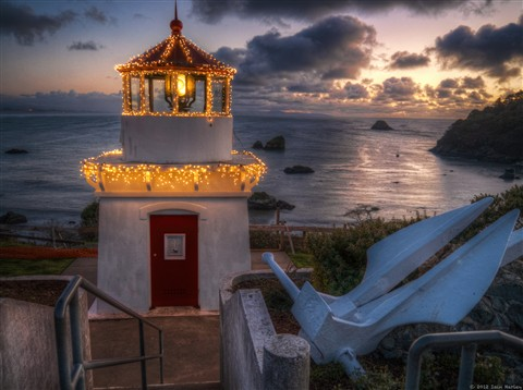 Trinidad light House for the Holidays HDR