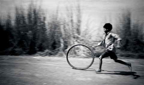 boy with a tyre