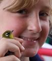 Girl holding a bird