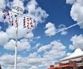 Thunderbird Passing Flagpole Bethpage Airshow