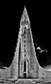 Iceland Hallgrímskirkja church bw