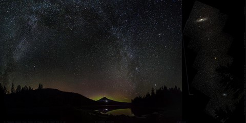 Trillium Lake Aurora Add 26 New Left West Frames with Earlier_Sept 8_9 2015_1_stitch mercator projection 2a titles 5000 pxl b_Galaxies at right enlarged 5500 pxl