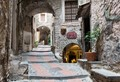 The narrow and steep alleys in Dolceacqua (Liguria, Italy).