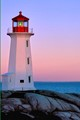 iconic peggy's cove light at dawn