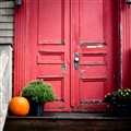 red door with pumpkin