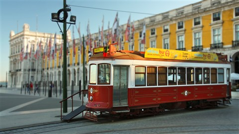 Tram in Praça do Comercio - Lisboa