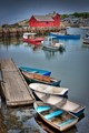 Photograph of the Rockport Massachusetts Harbor, looking toward the Bradley Wharf.