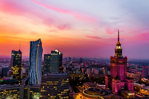 Warsaw in the autumn evening
