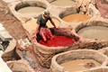 Working in a Morocco tannery