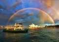 "Rainbow 🌈 ❤💛💚💙 over Sydney Opera House, as the Ferry 🚢 named ""Friendship"" coming to Circular Quay."