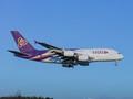 Thai Airways A380 approaching Narita Airport , Japan .