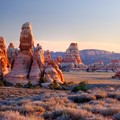 Redrock spires at sunset