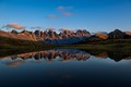 The last rays of sunlight shining on the Kalkkögel-ridge in the Stubai Alps, Tyrol, Austria.