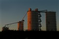 Cement works at sunset
