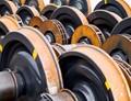 Train wheels at the repair depot.