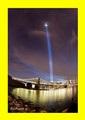 9/11 lights over Brooklyn Bridge