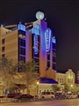 Moonrise Hotel, in the Delmar Loop District, in Saint Louis, Missouri, USA - exterior at night