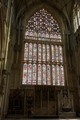 The newly restored 15th century East Window of York Minster. Larger than a tennis court, it is thought to be the biggest stained glass window in the world.