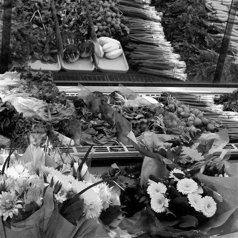 Flowers and vegetables B&W