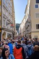 This is how the normal queue of people in one of the alleys through medieval Salzburg looks like. On worse days only brave inhabitants go there. It certainly helps to be above average height...