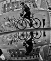 Reflection of a bicyclist