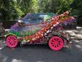 Flower arrangements for a wedding car