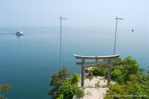 Majestic torii gate overlooking the ocean