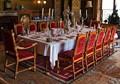 Dining table at Charlecote House, Warwickshire, England