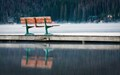Empty Bench on High Mountain Lake