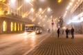 Bus in a fog