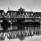 Old Rail Road Bridge: Black and white railroad bridge in Philadelphia PA across the Schuylkill River