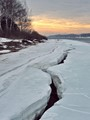 Spring morning, the Volga River starts to free from melting ice