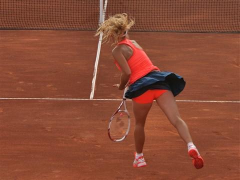 Caroline Wozniacki serving