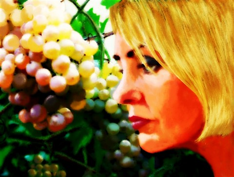 Woman with grapes
