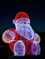 Big lighted Santa structure on a roundabout