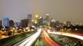 A light snowfall gave the city lights a nice glow.