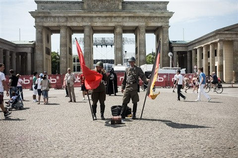 "Berlin's ""Welcome"" team at Brandenburg Gate"