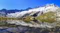 Panorama view of Dammagletscher and reflection in one of the small lakes nearby.