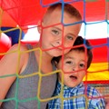 These two boys were living at the Stockton Shelter for the Homeless, enjoying the grand opening of their playground.