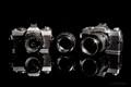 Left to right:  - RMC Tokina 24mm 1:2.8 on Minolta XD11 - Minolta MD Rokkor 50mm 1:1.4 - RMC Tokina 135mm 1:2.8 on Minolta XG2